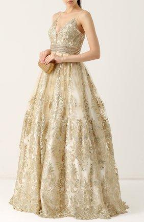 Приталенное кружевное платье-макси Basix Black Label золотое | Фото №1