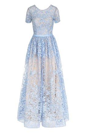 Приталенное кружевное платье с коротким рукавом | Фото №1