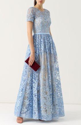 Приталенное кружевное платье с коротким рукавом Basix Black Label голубое | Фото №1