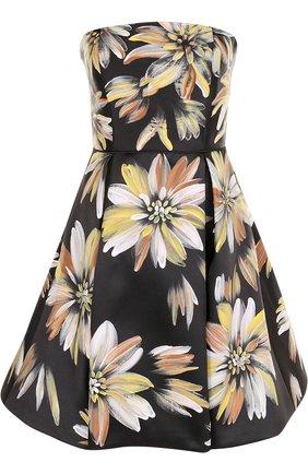 Приталенное платье-бюстье с цветочным принтом Basix Black Label разноцветное | Фото №1