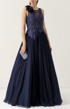 Женское приталенное платье-макси с вышивкой BASIX BLACK LABEL темно-синего цвета, арт. D8242L | Фото 2