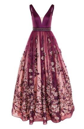 Приталенное платье-макси с декорированной юбкой | Фото №1