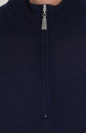 Джемпер из шерсти тонкой вязки с воротником на молнии | Фото №5