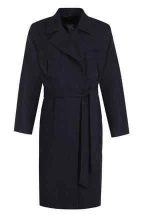 Пальто из смеси шерсти и кашемира с поясом Caruso темно-синего цвета   Фото №1