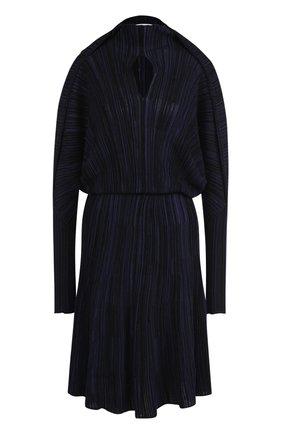 Вязаное приталенное платье с длинным рукавом   Фото №1
