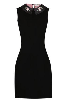 Бархатное мини-платье с декорированным воротником | Фото №1
