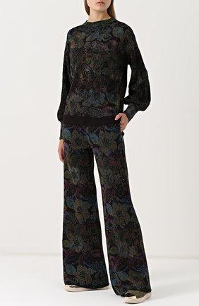 Расклешенные вязаные брюки с принтом Nude разноцветные   Фото №1
