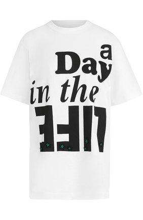 Хлопковая футболка прямого кроя с надписью Sacai белая | Фото №1