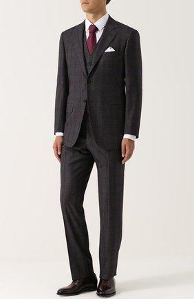 Мужской шерстяной костюм-тройка KITON коричневого цвета, арт. UAGL81K01X10 | Фото 1