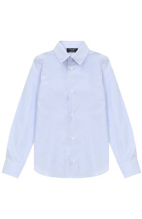 Детская хлопковая рубашка в мелкую клетку DAL LAGO светло-голубого цвета, арт. N402/2206/4-6 | Фото 1