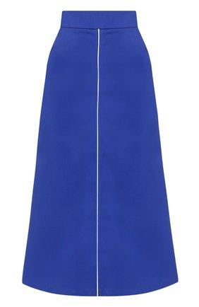 Хлопковая расклешенная юбка-миди Walk of Shame синяя | Фото №1