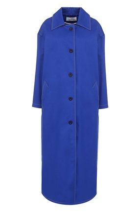 Удлиненное хлопковое пальто свободного кроя Walk of Shame синего цвета | Фото №1