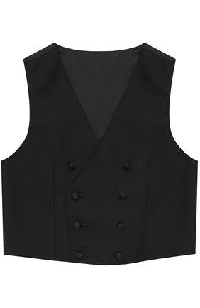 Детский двубортный жилет из смеси шерсти и вискозы Dolce & Gabbana черного цвета | Фото №1