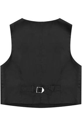 Детский двубортный жилет из смеси шерсти и вискозы Dolce & Gabbana черного цвета | Фото №2