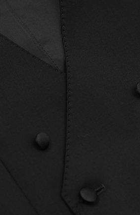Детский двубортный жилет из смеси шерсти и вискозы Dolce & Gabbana черного цвета | Фото №3