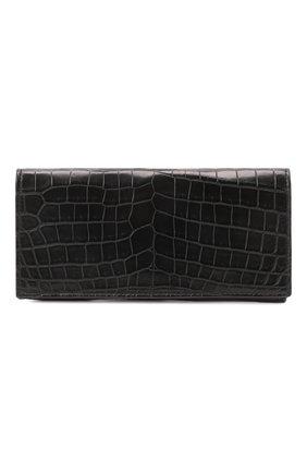 Мужской портмоне из кожи крокодила с отделениями для кредитных карт BOTTEGA VENETA черного цвета, арт. 120697/V912R | Фото 1
