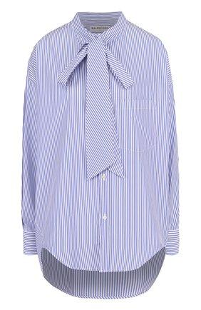 Хлопковая блуза в полоску с воротником аскот | Фото №1
