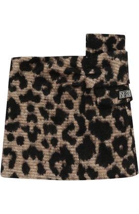 Мини-юбка с леопардовым принтом и бантом | Фото №1