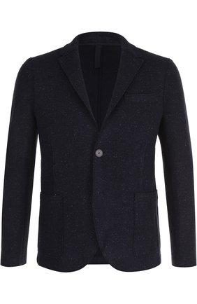 Однобортный пиджак из смеси шерсти и шелка Harris Wharf London синий | Фото №1