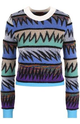 Вязаный пуловер с круглым вырезом Missoni темно-синий | Фото №1