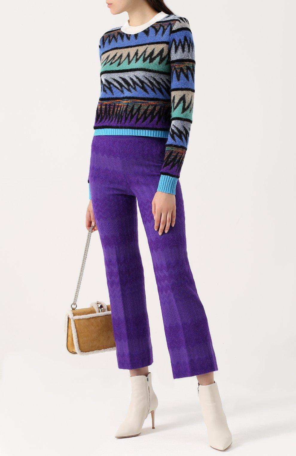 Вязаный пуловер с круглым вырезом Missoni темно-синий | Фото №2