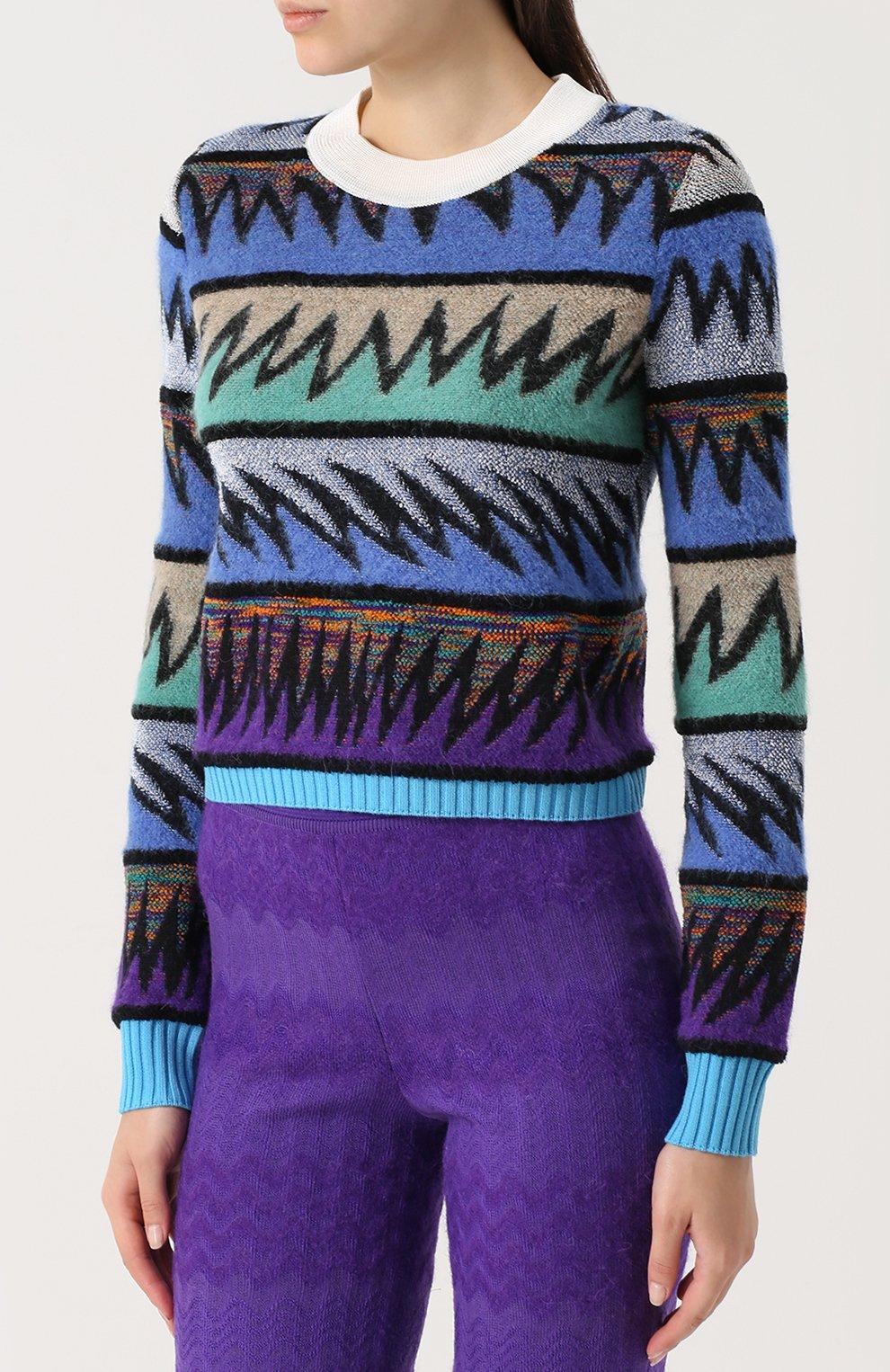 Вязаный пуловер с круглым вырезом Missoni темно-синий | Фото №3