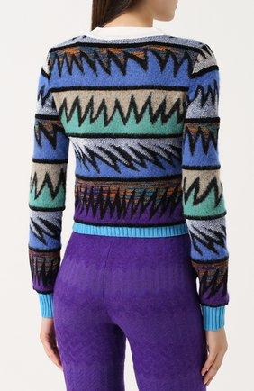 Вязаный пуловер с круглым вырезом Missoni темно-синий | Фото №4