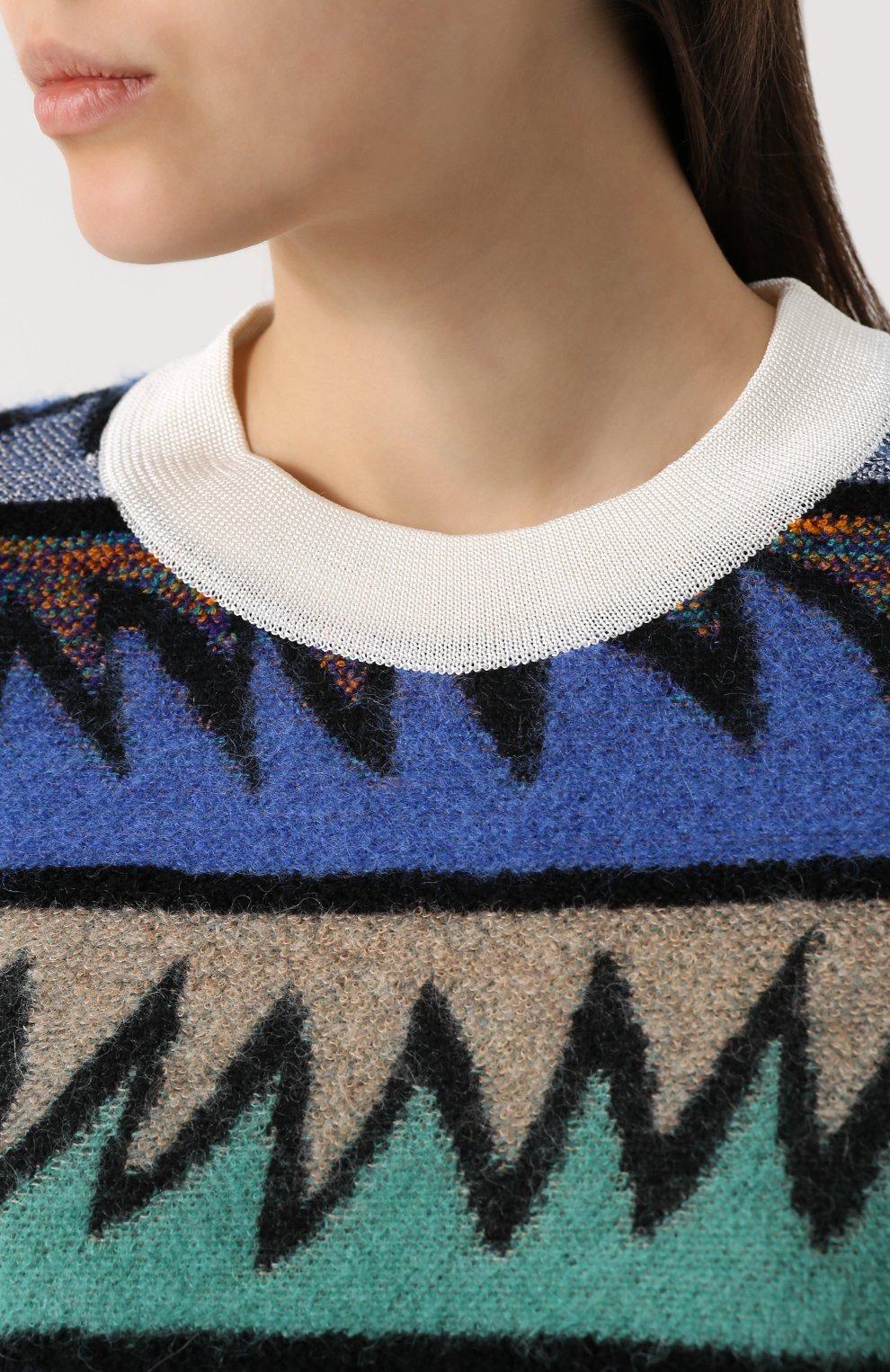Вязаный пуловер с круглым вырезом Missoni темно-синий | Фото №5