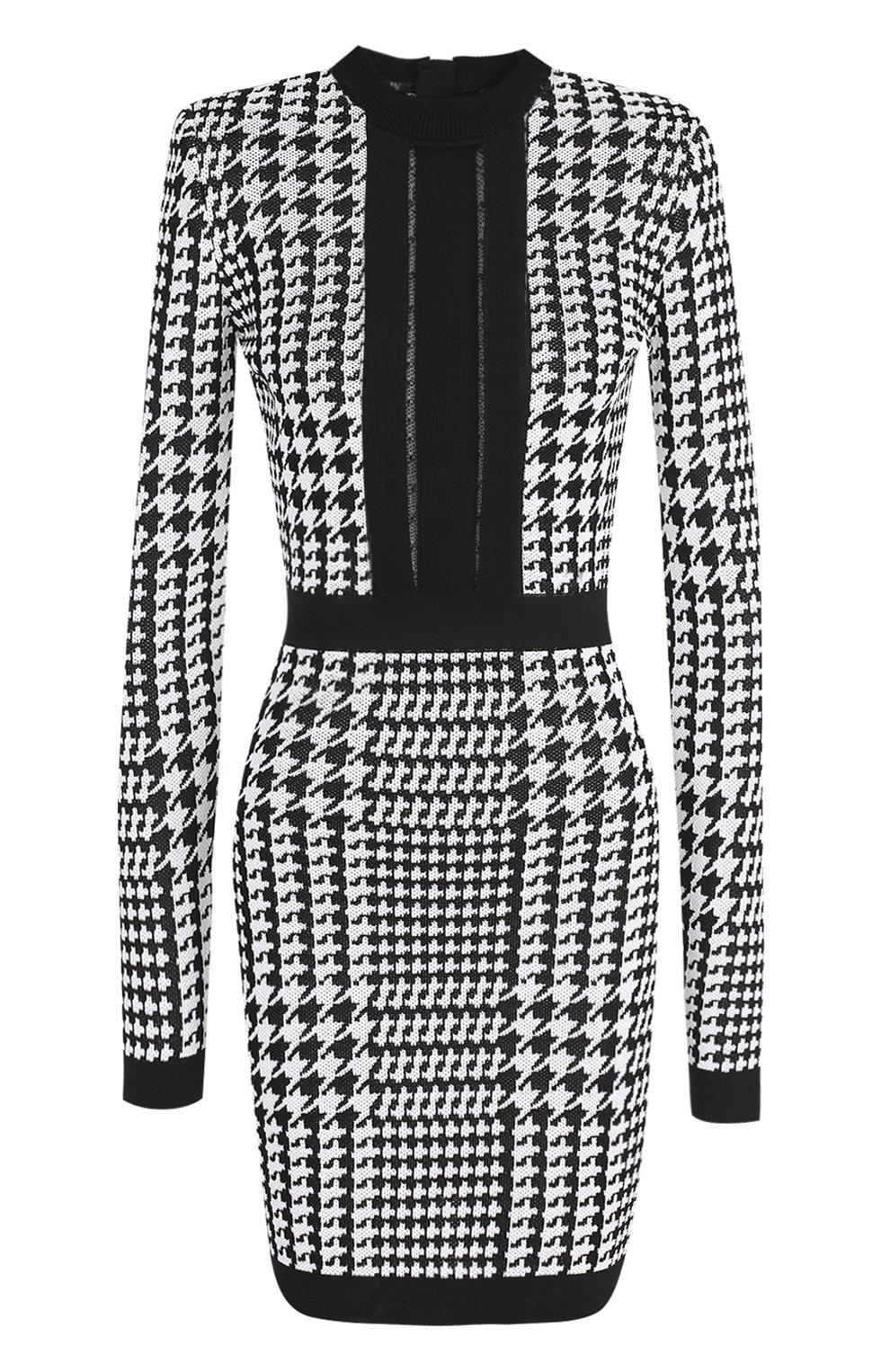 c7fc33bb97ee217 Платье-футляр с прозрачной вставкой и принтом гусиная лапка Balmain  черно-белое   Фото