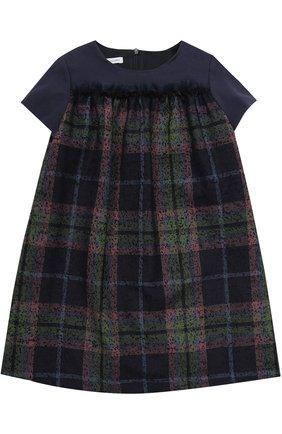 Мини-платье из шерсти с принтом и оборкой | Фото №1