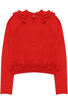 Детский пуловер джерси с оборками и логотипом бренда из страз I Pinco Pallino синего цвета | Фото №1