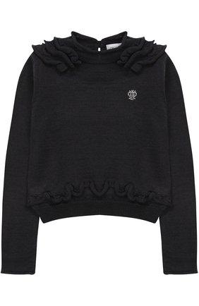 Пуловер джерси с оборками и логотипом бренда из страз | Фото №1