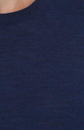 Джемпер из шерсти тонкой вязки с замшевой отделкой | Фото №5