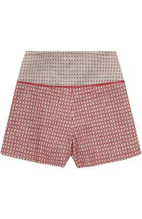 Детские шорты с защипами и контрастной вышивкой I Pinco Pallino серого цвета | Фото №1