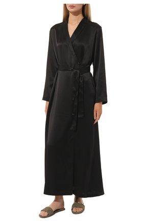 Женский шелковый халат LA PERLA черного цвета, арт. 0020293/LU | Фото 2