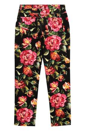 Детские джинсы прямого кроя с принтом Dolce & Gabbana черного цвета | Фото №2