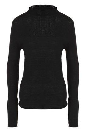 Кашемировый пуловер фактурной вязки Le Kasha черный   Фото №1