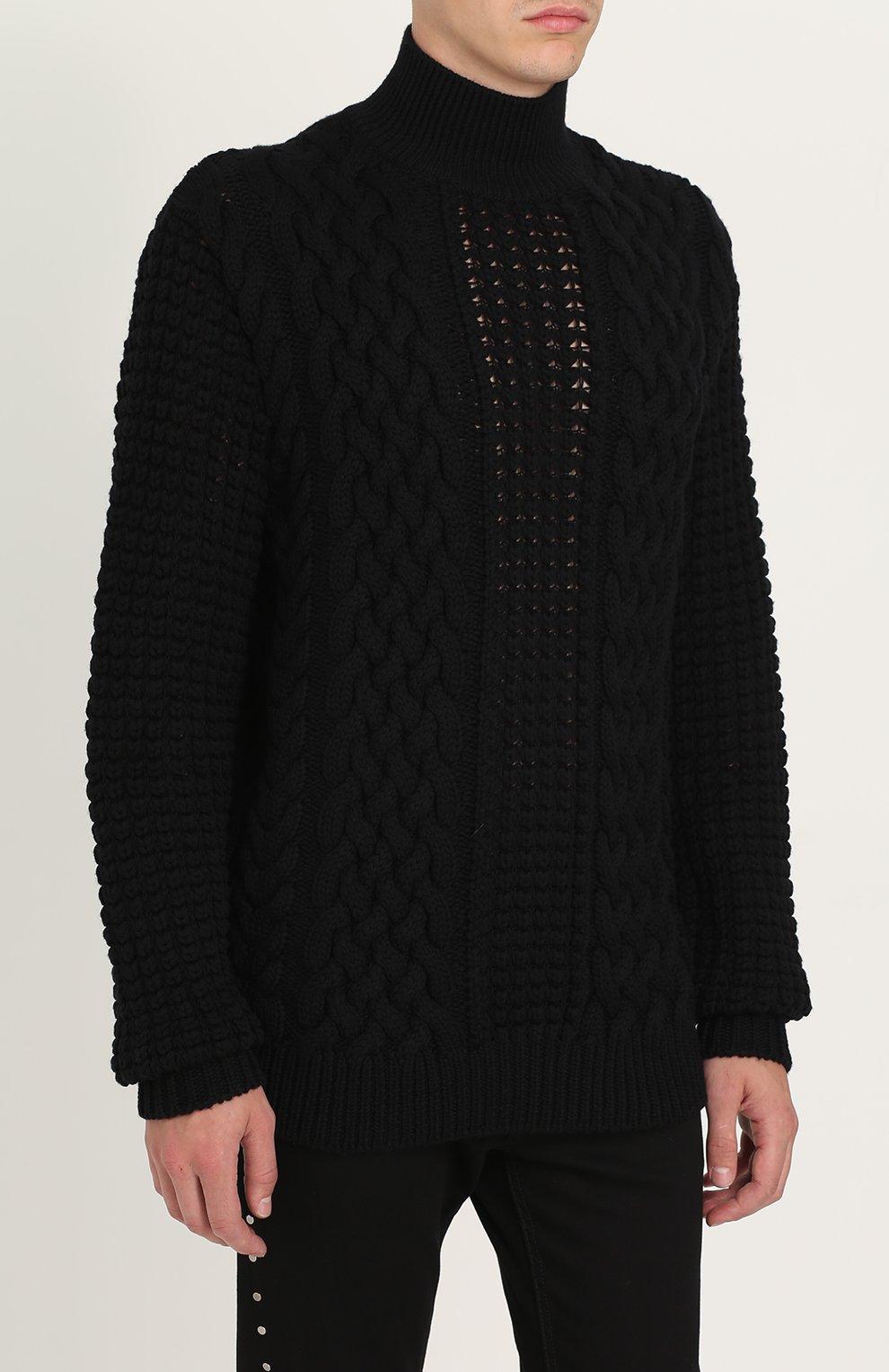 Шерстяной свитер фактурной вязки   Фото №3