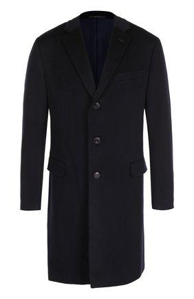 Шерстяное однобортное пальто Pal Zileri темно-синего цвета   Фото №1