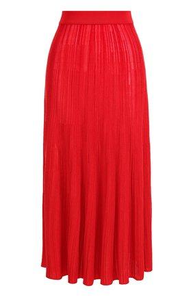 Однотонная жатая юбка-миди | Фото №1