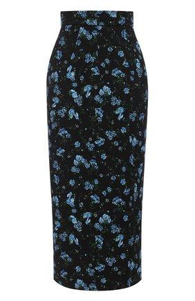 Шерстяная юбка-карандаш с цветочным принтом | Фото №1
