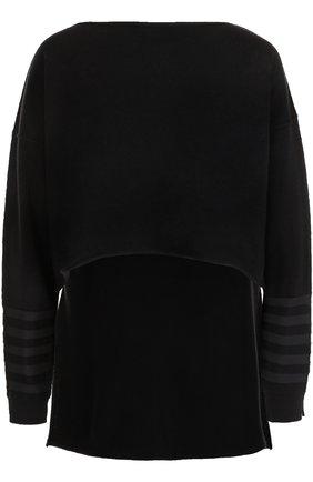 Кашемировый пуловер с удлиненный спинкой   Фото №1