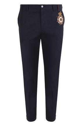 Хлопковые брюки прямого кроя с контрастной вышивкой Dolce & Gabbana синие   Фото №1