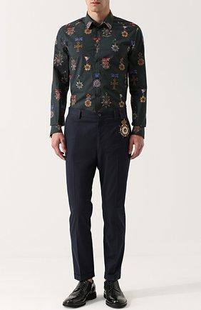 Хлопковые брюки прямого кроя с контрастной вышивкой Dolce & Gabbana синие   Фото №2