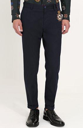 Хлопковые брюки прямого кроя с контрастной вышивкой Dolce & Gabbana синие   Фото №3