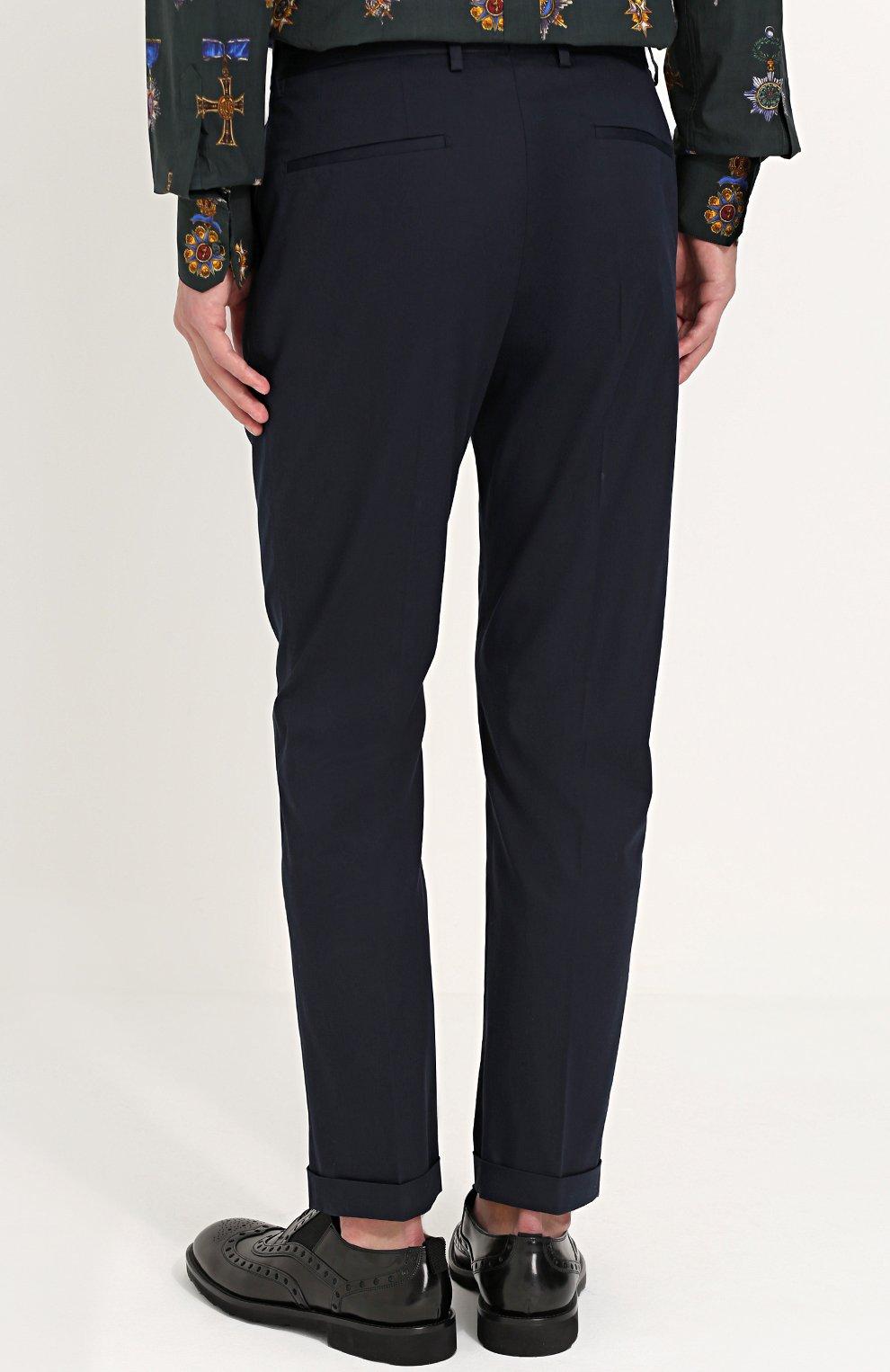 Хлопковые брюки прямого кроя с контрастной вышивкой Dolce & Gabbana синие   Фото №4