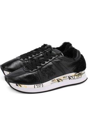 Кожаные кроссовки Conny с меховой отделкой | Фото №1