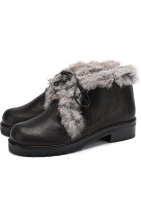 Кожаные ботинки Furwalla с меховой отделкой Stuart Weitzman черные | Фото №1