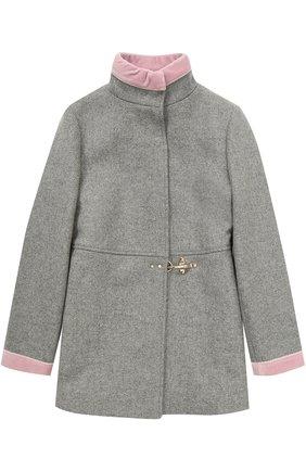 Укороченное пальто с бархатной отделкой | Фото №1