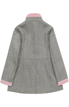 Укороченное пальто с бархатной отделкой Fay Junior серого цвета | Фото №1